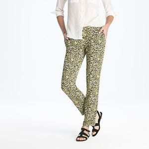J Crew Cafe Capri In Abstract Leopard Size 6